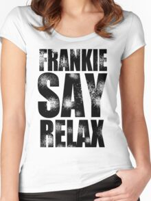 FRANKIE SAY RELAX T-Shirt Funny Retro Soft GOES TO HOLLYWOOD 80s Music Tee Women's Fitted Scoop T-Shirt