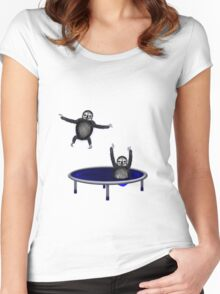 trampolining sloths Women's Fitted Scoop T-Shirt