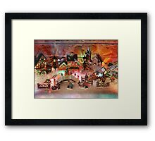 Miniature Christmas Village background Framed Print