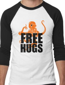 FREE HUGS TSHIRT Funny Humor TEE PEACE AND LOVE Big Bold Hippie TRENDY PARTY Men's Baseball ¾ T-Shirt