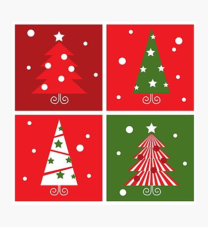 Christmas Trees design blocks icons Photographic Print