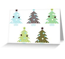 New! Christmas Trees set in geometrical clean style Greeting Card