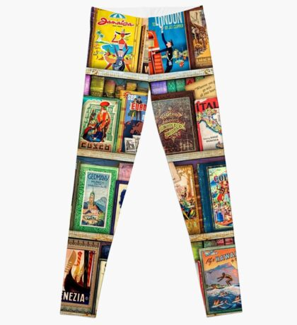 Travel Guide Book Shelf Leggings