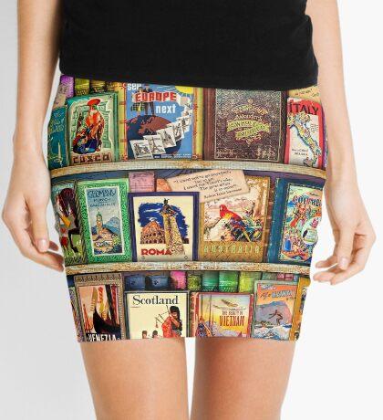 Travel Guide Book Shelf Mini Skirt