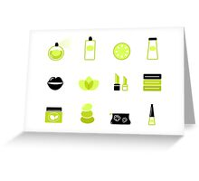 New in shop : Cosmetics spa icons. Green, black Greeting Card