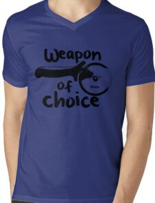 Weapons of choice - Pizza - Black Mens V-Neck T-Shirt