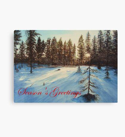 Freezing Forest Season's Greetings Canvas Print