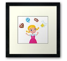 New in shop : Kids octoberfest character / Pink girl Framed Print