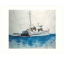 Ethel May WA Crab Fish Boat Cathy Peek Nautical Map Art Print