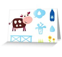New stylish bio cow with Accessories / New illustration Greeting Card