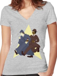 Data and Geordi as Sherlock and Watson Women's Fitted V-Neck T-Shirt