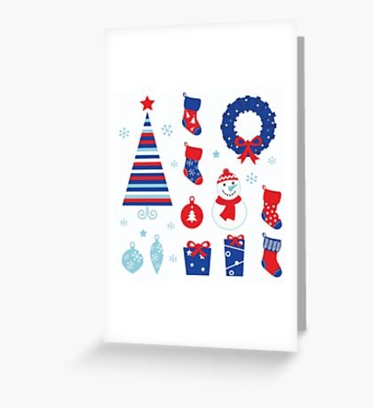 Christmas vector icons collection : red and blue Greeting Card