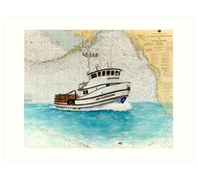 ANN KATHLEEN Crab Fish Boat Cathy Peek Nautical Chart Map Art Print
