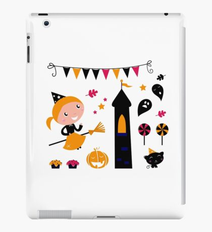Cute little Halloween Witch with cat and lollipops iPad Case/Skin