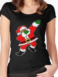 Dab Black Santa Women's Fitted Scoop T-Shirt
