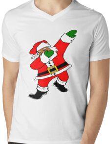 Dab Black Santa Mens V-Neck T-Shirt