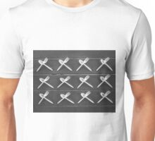 plastic forks and plastic spoons in black and white Unisex T-Shirt