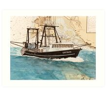CAPE FALCON Trawl Fish Boat Cathy Peek Nautical Chart Map Art Print