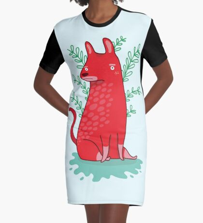 Big red Dog Graphic T-Shirt Dress
