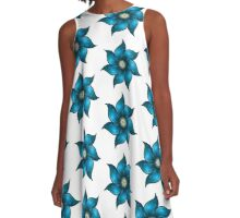 Blue Flower A-Line Dress