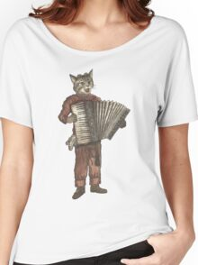 Accordion Cat with Goggles and Mask Women's Relaxed Fit T-Shirt