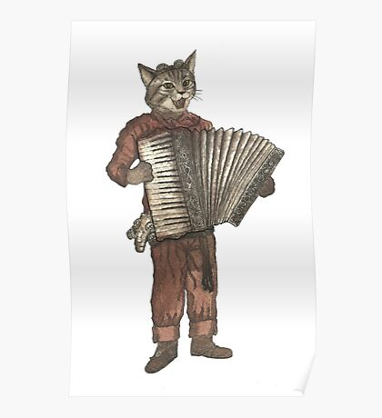 Accordion Cat with Goggles and Mask Poster