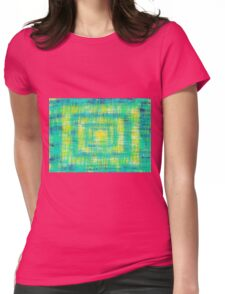 green blue and yellow painting abstract texture Womens Fitted T-Shirt