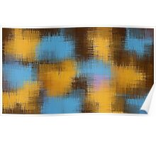 blue yellow brown and pink painting abstract Poster