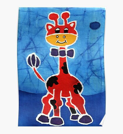 Red giraffe Poster