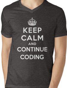 Keep Calm Continue Coding Mens V-Neck T-Shirt