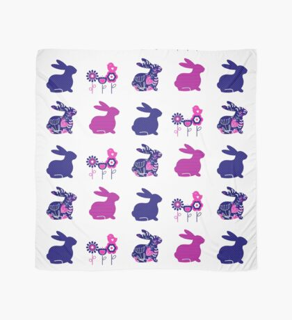 Ester bunny and flowers set : pink deep blue Scarf