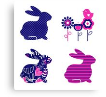 Ester bunny and flowers set : pink deep blue Canvas Print