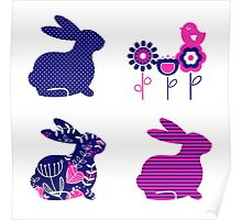 Ester bunny and flowers set : pink deep blue Poster