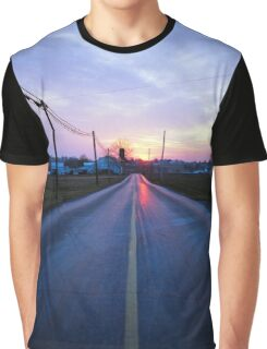 Country Road Sunset Graphic T-Shirt