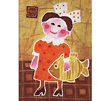 Girl with a fish Photographic Print