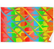 yellow blue green orange and pink painting background Poster