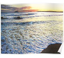 Foamy Tide At Garryvoe Beach Poster