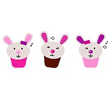Funny singing easter bunnies for your party Photographic Print