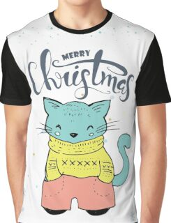 Cute & Cool Christmas Cat & Typography Design Graphic T-Shirt