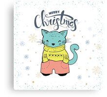 Cute & Cool Christmas Cat & Typography Design Canvas Print