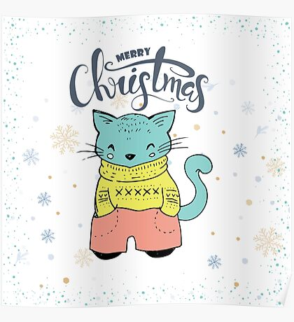Cute & Cool Christmas Cat & Typography Design Poster