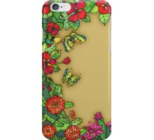 Border wih flowers and butterfly iPhone Case/Skin