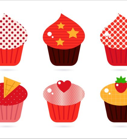 Cupcakes icons collection : Red and brown Sticker