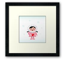 Little happy eskimo girl holding heart Framed Print