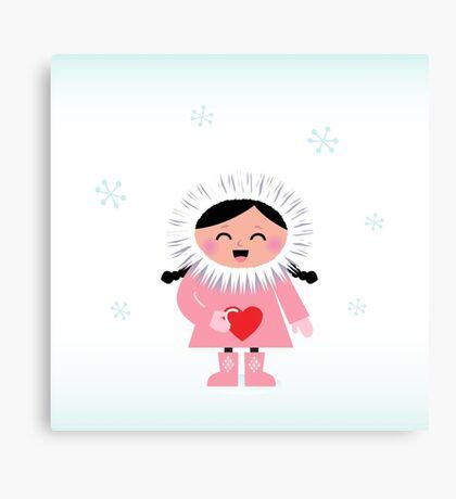 Little happy eskimo girl holding heart Canvas Print