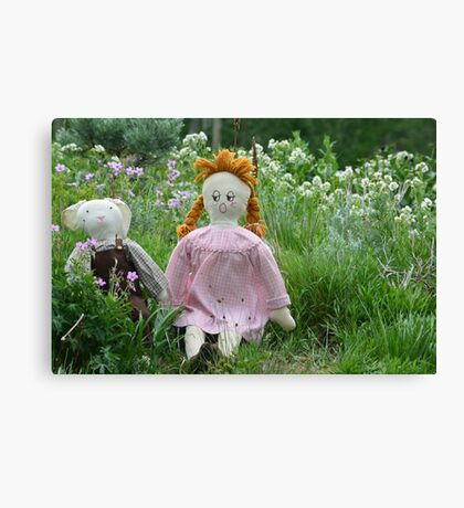 Margret and Rabbit Rag Doll #1 Canvas Print