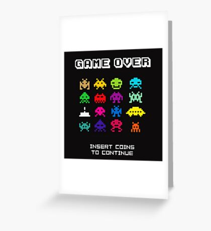 Space Invaders Arcade Game Over Greeting Card