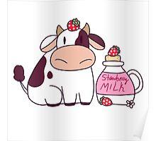 Strawberry Milk Cow Poster