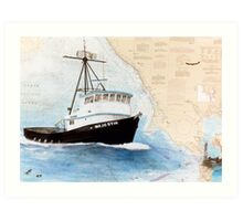 MAJESTIK Crab Fishing Boat Cathy Peek Nautical Chart Map CA Art Print