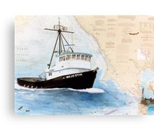 MAJESTIK Crab Fishing Boat Cathy Peek Nautical Chart Map CA Canvas Print